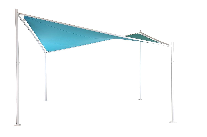 Pérgola (Glorieta) Mariposa | Color Azur | 400 x 400 cm | Cuadrada | SORARA | Poliéster 300 g/m2 (UV +50) | 48 Kg | Exterior - Patio - Cobertizo - Toldo ...