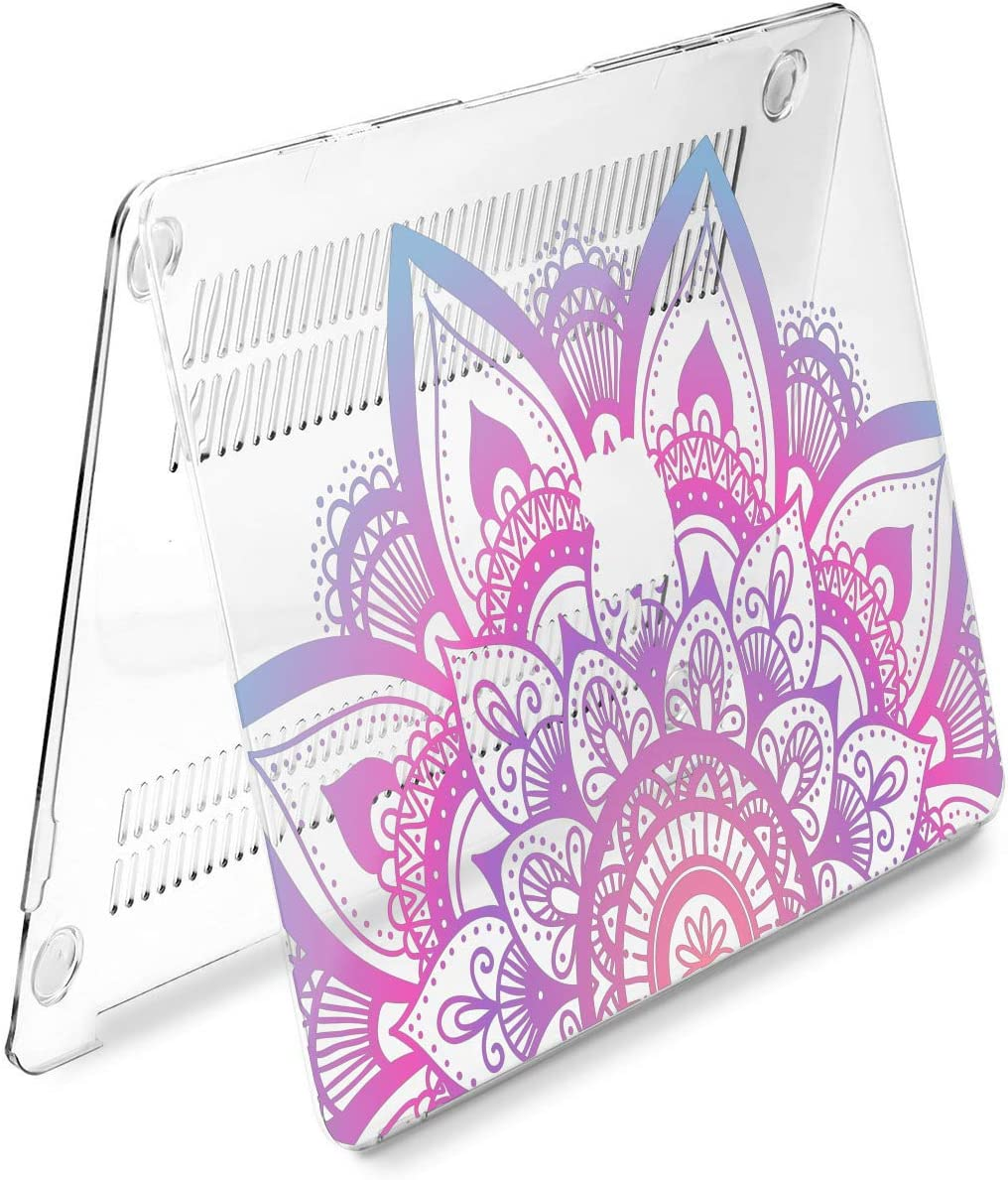 Cavka Hard Shell Case for Apple MacBook Pro 13 2019 15 2018 Air 13 2020 Retina 2015 Mac 11 Mac 12 Plastic Beautiful Mandala Pattern Print Green Boho Design Laptop Pink Cover Oriental Protective