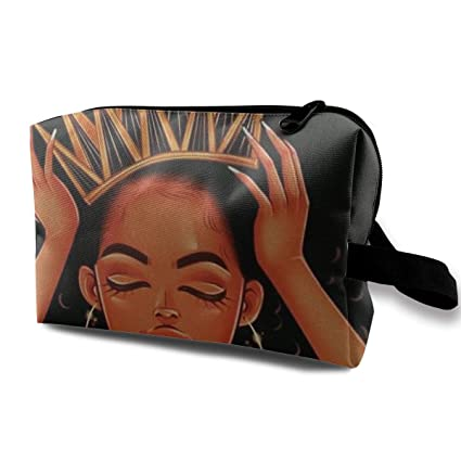 be69e479079a Image Unavailable. Image not available for. Color  Pinkipory Travel Cosmetic  Bag Portable Handbag African American Black Girl Art Toiletry ...