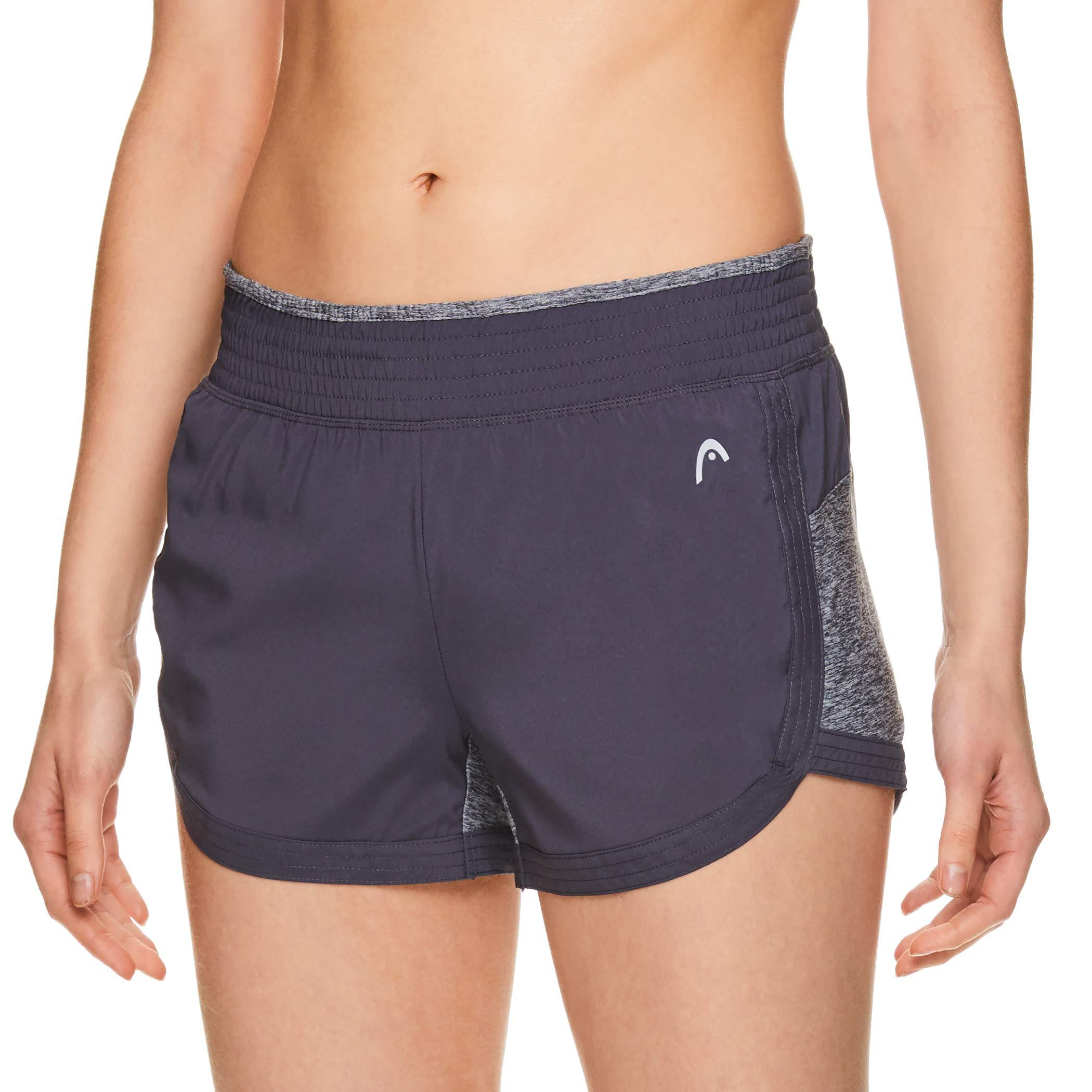 HEAD Women's Athletic Workout Shorts - Polyester Gym Training & Running Short - Medium Grey Half Mile Short, X-Small