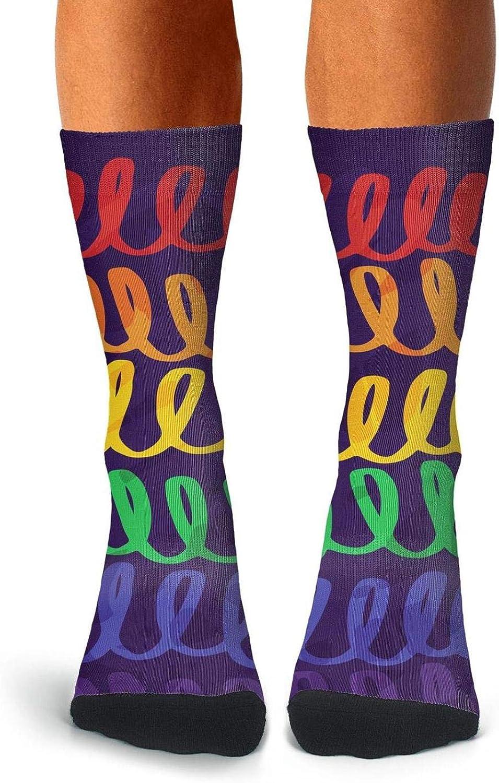 Mens Crew Socks LGBT Rainbow Flag Gay Pride Stocking Patterned Cotton Socks