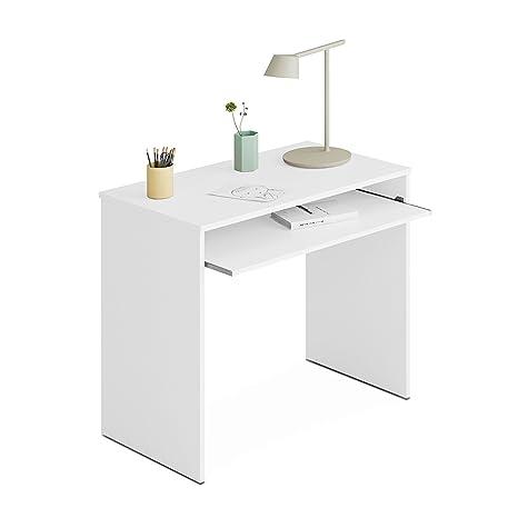 Habitdesign 002314BO - Mesa de ordenador, color blanco brillo, dimensiones, 90 x 54 x 79 cm
