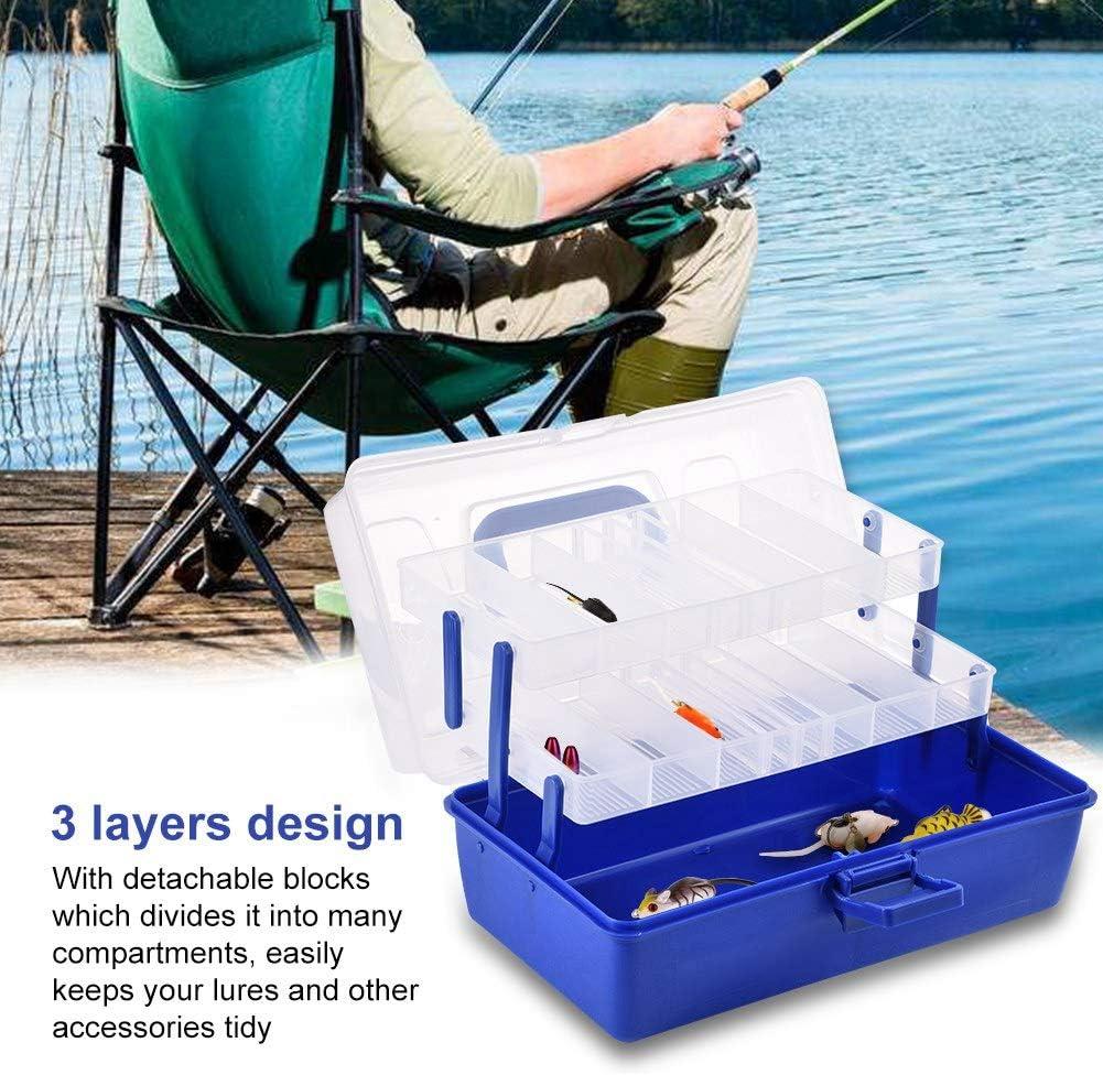 Sorand Caja de Almacenamiento de Aparejos de Pesca de pl/ástico de 3 Capas Gran Capacidad Duradera para Acampar y Caminar Caja de Accesorios de Pesca