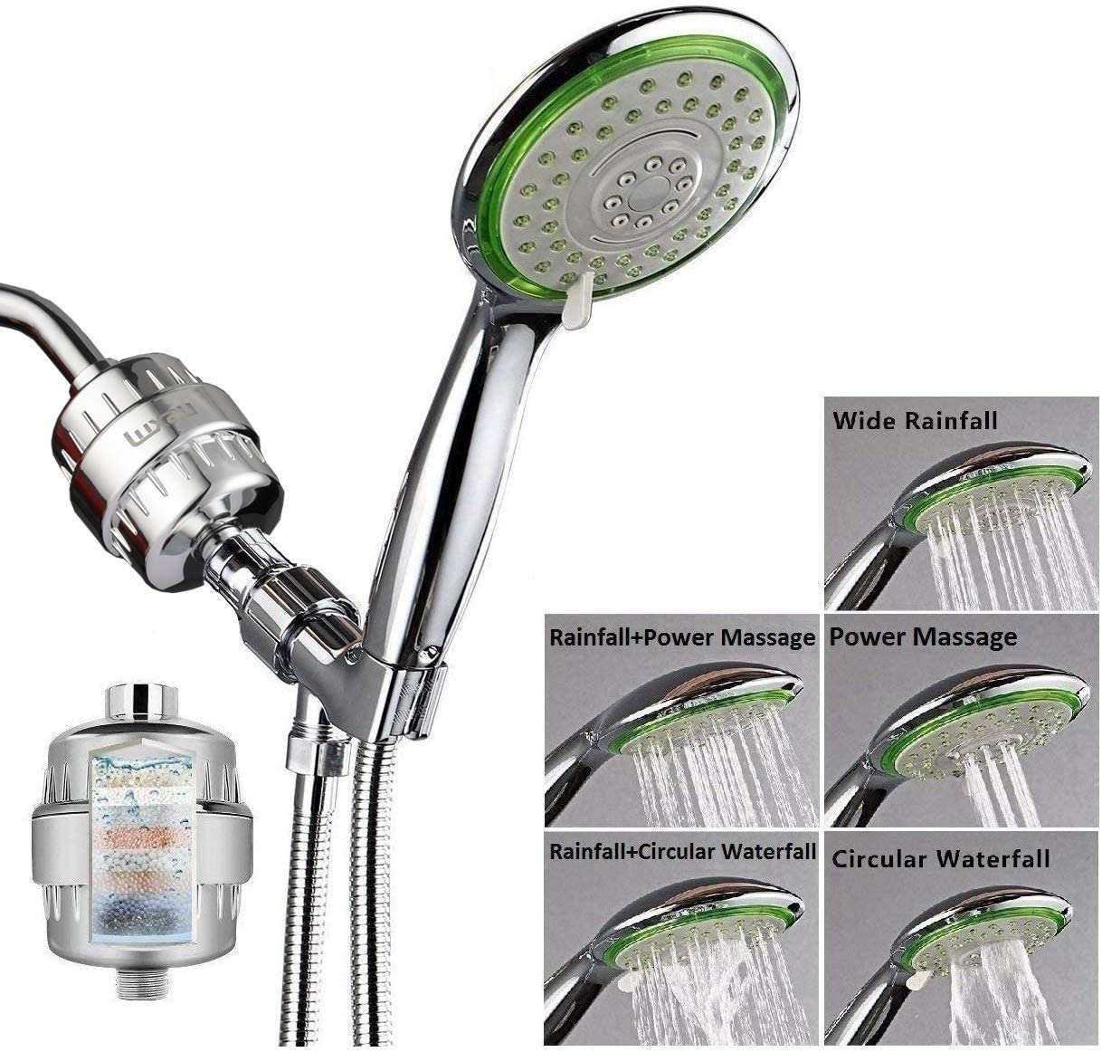 black rose ZCSMTZ shower head household shower faucet shower set filter nozzle nozzle shower nozzle nine-layer filtration and purification shower resin material frosting process fine water outlet