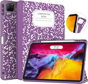 Soke New iPad Pro 11 Case 2020 & 2018 with Pencil Holder - [Full Body Protection + Apple Pencil Charging + Auto Wake/Sleep], Soft TPU Back Cover for 2020 iPad Pro 11 inch(Book Violet)