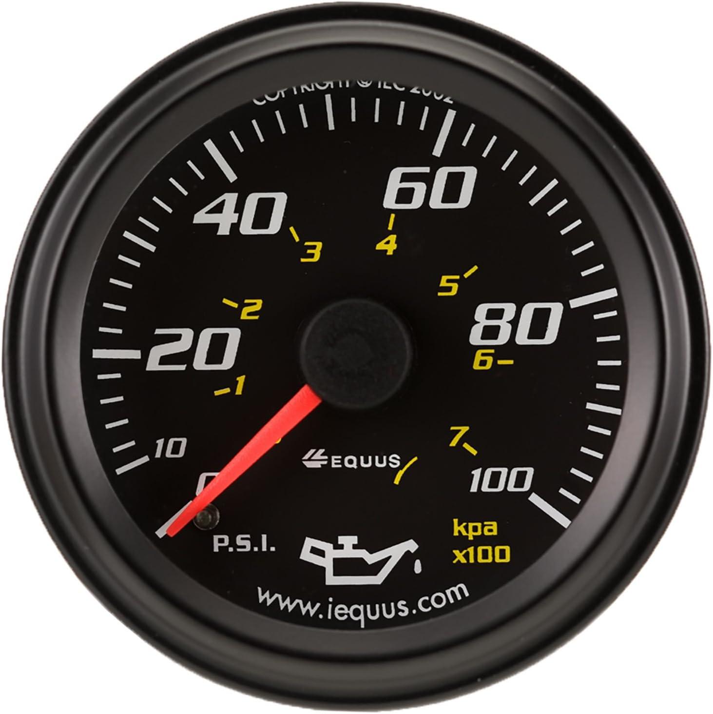 "Equus 6244 2"" Mechanical Oil Pressure Gauge, Black"