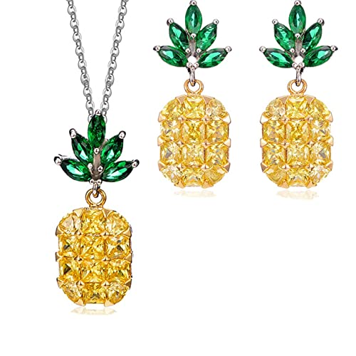 75f000722230 OCTCHOCO chapado en oro piña collar colgante de plata lindo arete amarillo  CZ joyería Set para