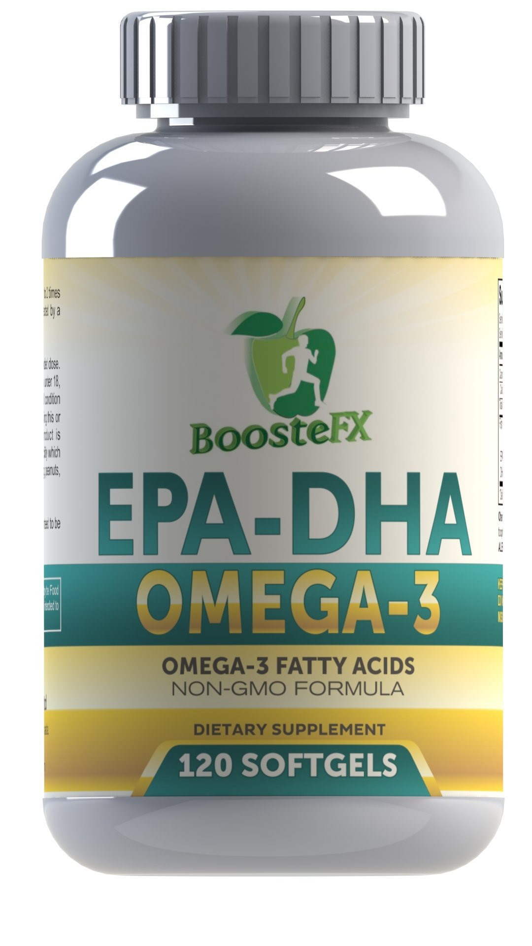 BoosteFX Premium Omega-3 Fish Oils - With EPA, DHA & Omega-3 - For Enhanced Brain Function, Heart Health, Healthy Cell Function. (120 Capsules)