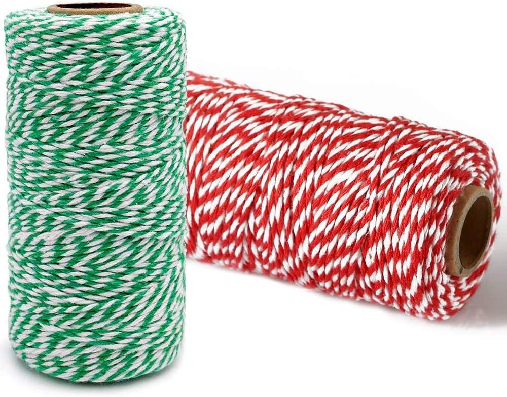 STOBOK Schnur Schnur Schnur Weihnachten Schnur Farbige Baumwolle Schnur Seil f/ür DIY Kunsthandwerk Geschenkverpackung Verpackung Dekorationen 2 Rollen