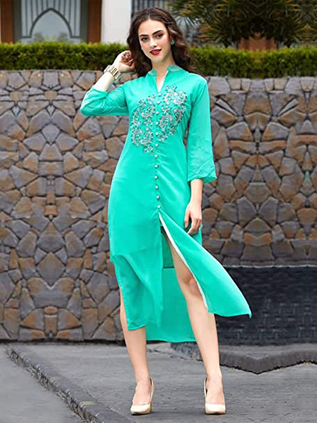 0b78d5bc2 Peachmode Women s Light Firozi Color Georgette Kurti  Amazon.in  Clothing    Accessories