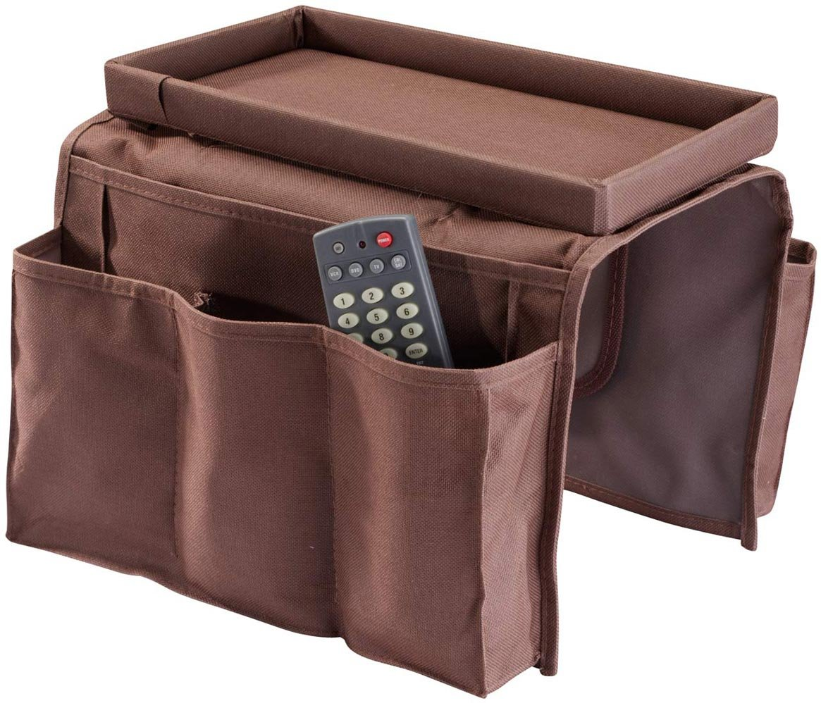 Armchair Tray – Couch Sofa Recliner Chair Armrest Caddy Organizer with Pockets – Hanging Storage for Remote, Phone, Magazines and Books with Table Top Tray Drink Holder