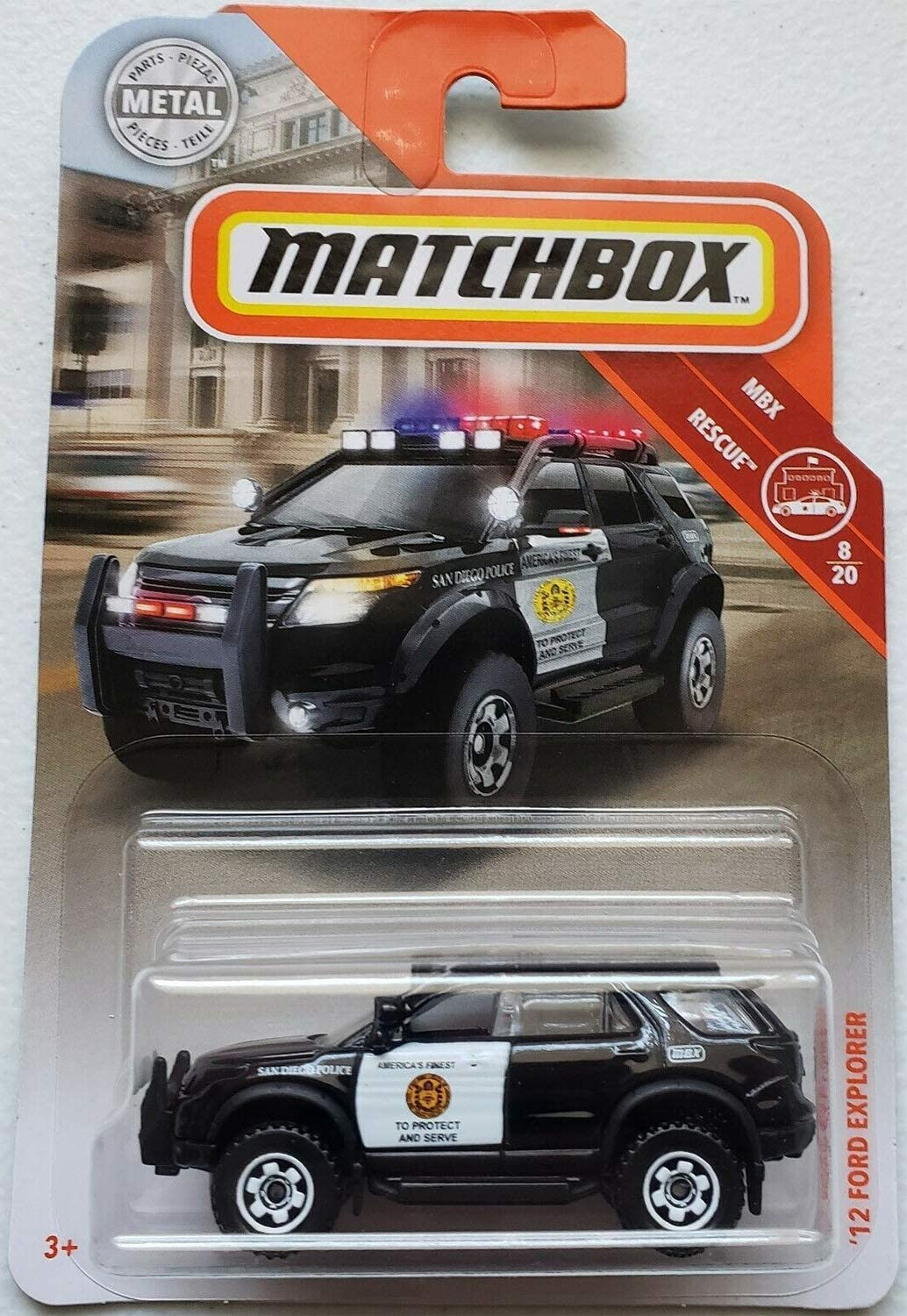 Matchbox mbx 12 Ford Explorer San Diego Police Rescue Series 1:64 Scale Collectible Die Cast Metal Toy Car Model 8/19