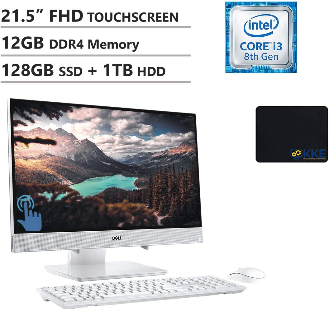 "Dell Inspiron 22 All-in-One Desktop 21.5"" FHD IPS Touch Display, Intel i3-8145U, 12GB Memory, 128GB PCIe Solid State Drive + 1TB HDD, WiFi, HDMI, KKE Mousepad, Wireless Keyboard&Mouse, Win10"
