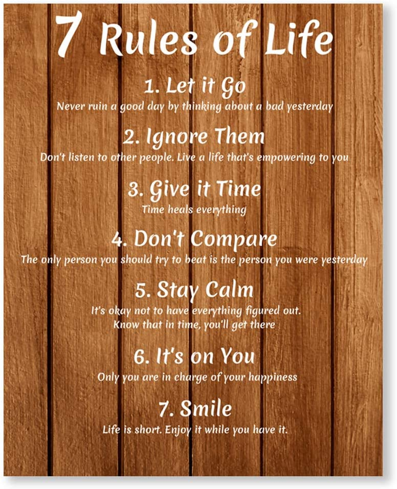 7 Rules of Life Inspirational Wall Art Prints - Unframed 8x10 - Motivational Home Pictures - Encouraging Quotes for Office Decor - Positive Sayings Poster for Classroom
