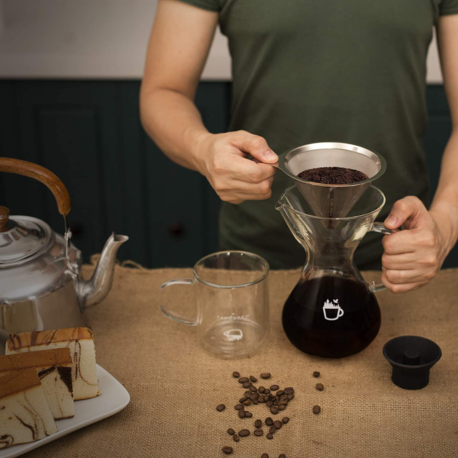 ParkBrew Pour Over Coffee Maker - set includes glass pourover carafe (up to 27 fl. oz.), heat retaining lid, and reusable coffee filter or dripper