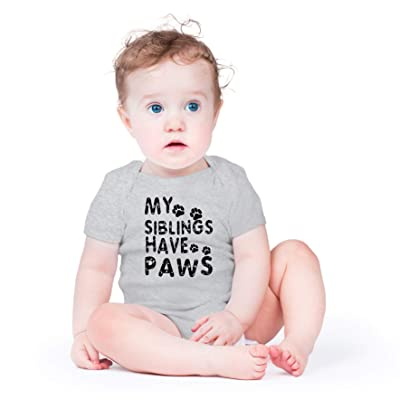Creeper My Siblings Have Paws Funny Cool Cute Dog Cat New Baby Shirt For Newborn