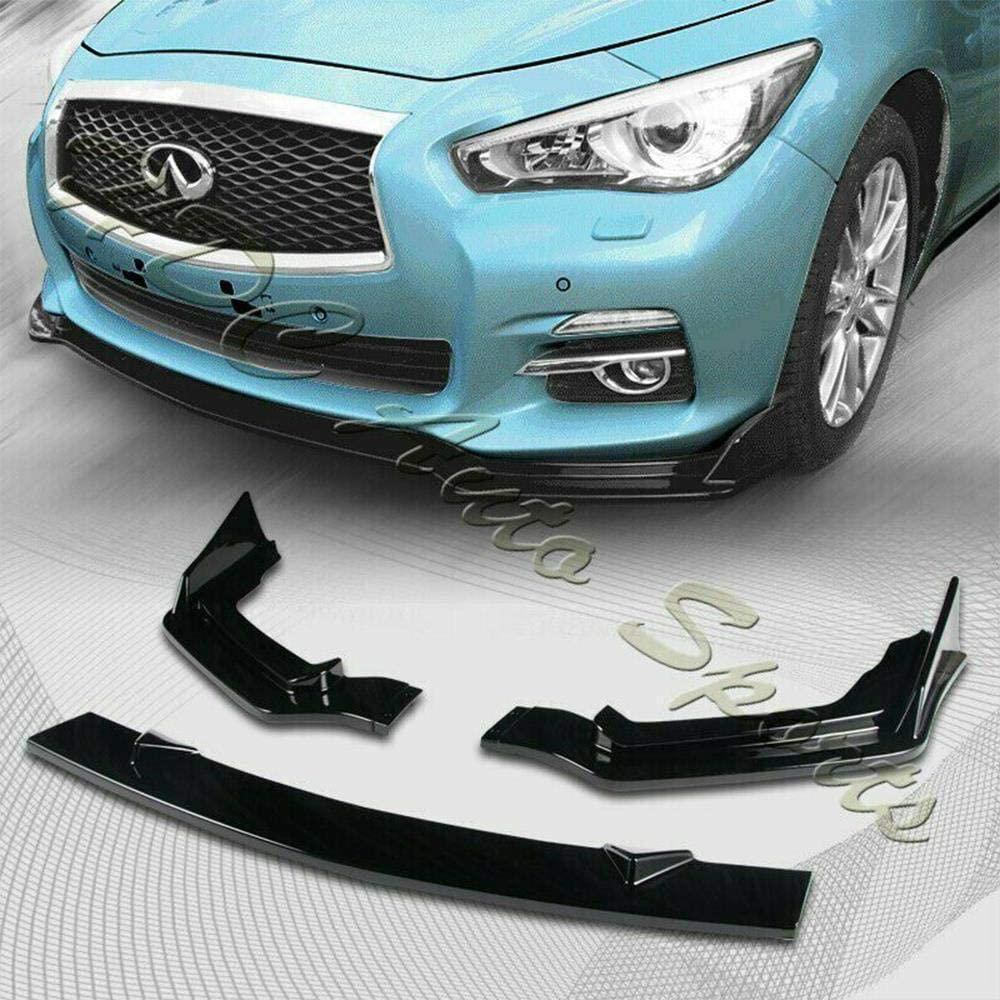 S SIZVER Painted Black Front Bumper Body Kit Spoiler Lip 3PCS Compatible with 2014-2017 Q50