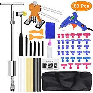 Auto Body Dent Removal Repair Tools Kit 63 PCS, Paintless Cars Body Dent Puller Remover Tool, Dent Lifter Removal T Puller Fix Tools with Tool Bag for Car Body Motorcycle Refrigerator