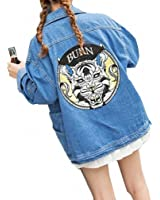 Harajuku Women Denim Jacket NEW Back Printed Loose Bomber Jacket Spring Female Coats Big Pockets Chaquetas