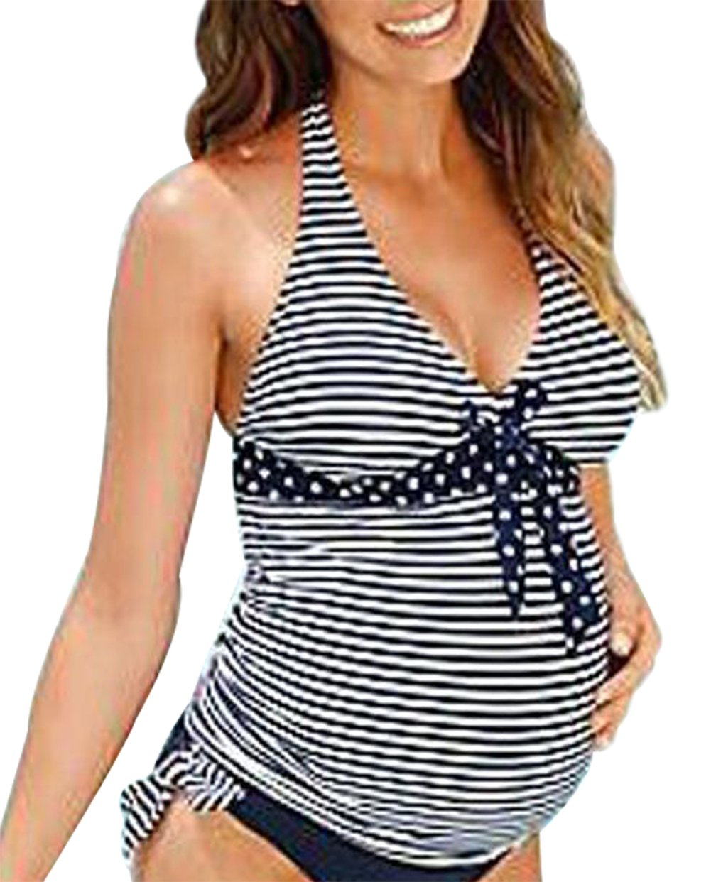 JINTING Striped Maternity Tankini Halter Two Piece Maternity Tankini Swimsuit for Women Size XL (Black)