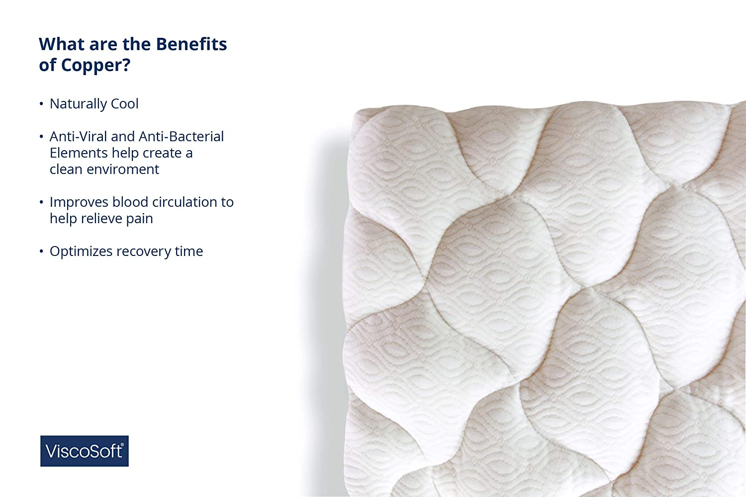 Premium Cloud-Like Support-Perfect Quilted Pillow Top for All Sleeping Positions ViscoSoft Copper Mattress Pad Fiberfill Pillow Top Queen Mattress Topper Deep Pocket for Secured Fit