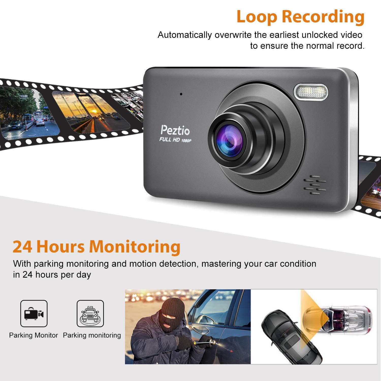 Loop-Aufnahme 10,2 cm Touchscreen Dual Dashcam Front- und Heckkamera Full HD 1080P Auto Armaturenbrett Kamera mit Nachtsicht 170/° Weitwinkel G-Sensor Bewegungserkennung Park-Monitor
