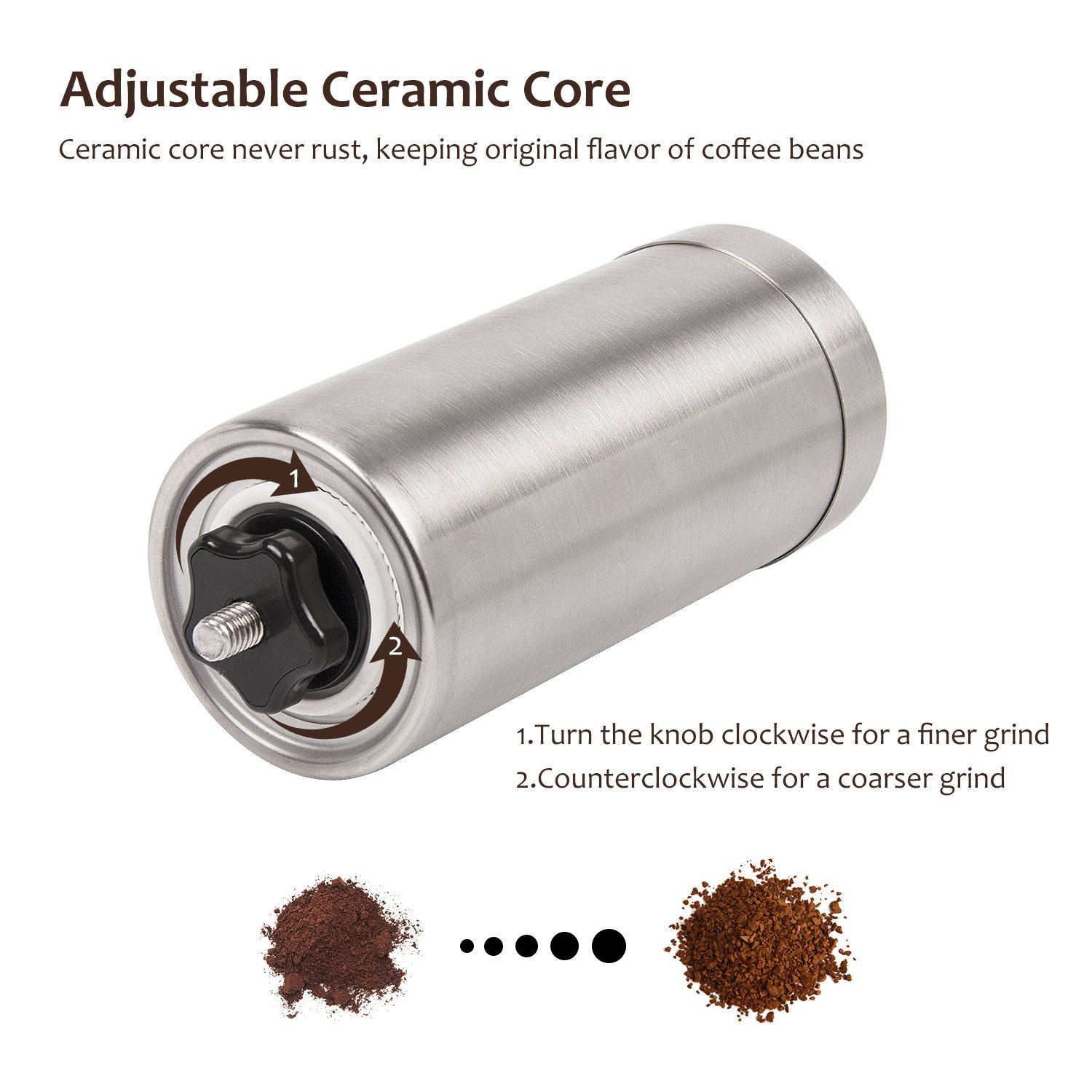 Manual Coffee Grinder Set, Adjustable Ceramic Core, Premium Stainless Steel, Portable Best Burr Mill with Free Handheld Milk Foam Maker Wand by Vina, Scoop & Pouch Bag included
