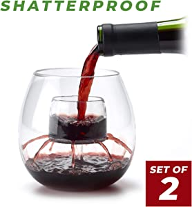 SHATTERPROOF Aerating Wine Glasses (Set of 2) by Chevalier Collection - Made with BPA Free Plastic - Patented In-The-Glass Wine Aerator and Decanter for Outdoor Use