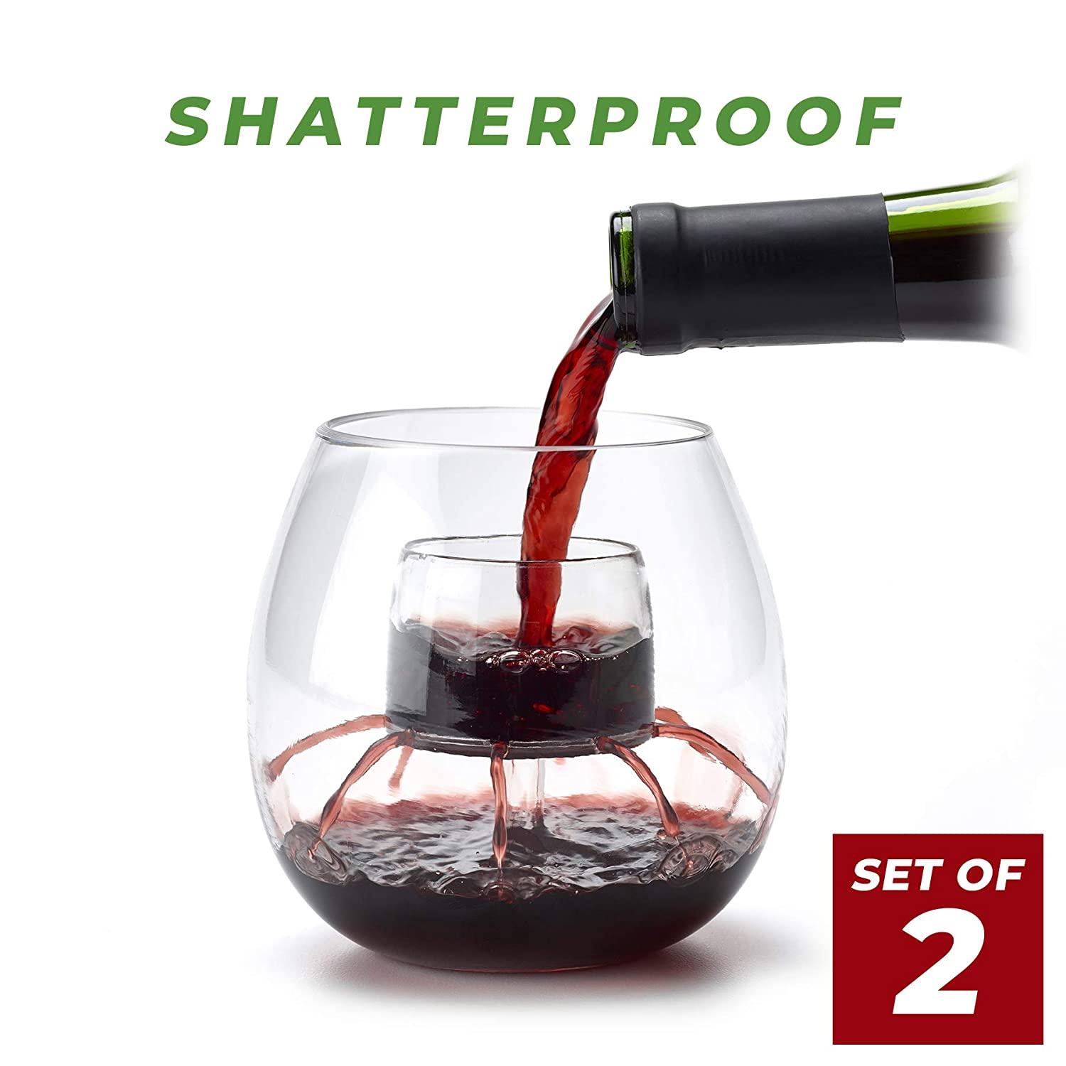 Patented in-The-Glass Wine Aerator and Decanter for Outdoor Use Chevalier SHATTERPROOF Stemless Aerating Wine Glasses Set of 2