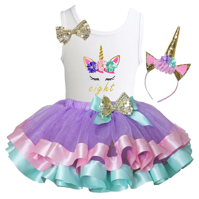 Kirei Sui Girls Lavender Pastel Satin Trimmed Tutu & Birthday Unicorn Tee DGUCF1TST4A68GHB