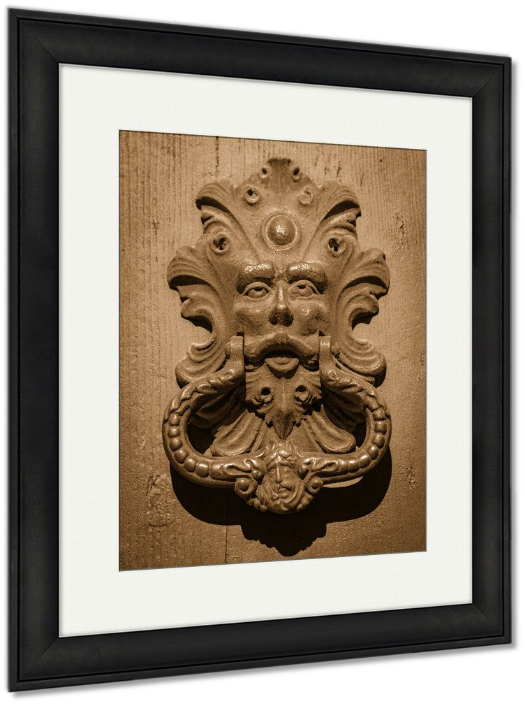 Ashley Framed Prints Antique Door Knocker Of An Old Door, Wall Art Home Decoration, Sepia, 40x34 (frame size), Black Frame, AG5405557