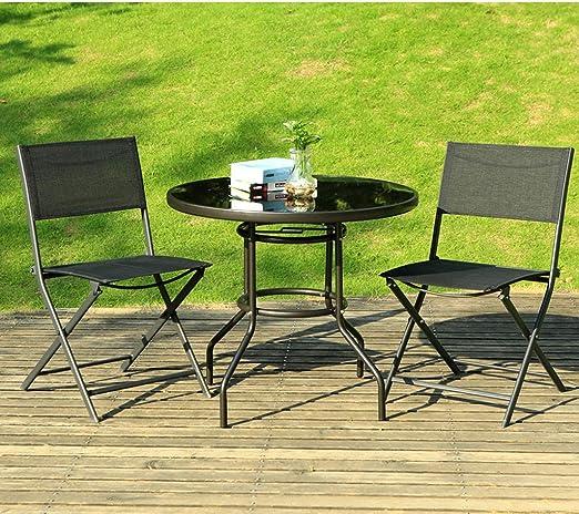 Juego de comedor for patio, 3 piezas, mesa redonda de 32