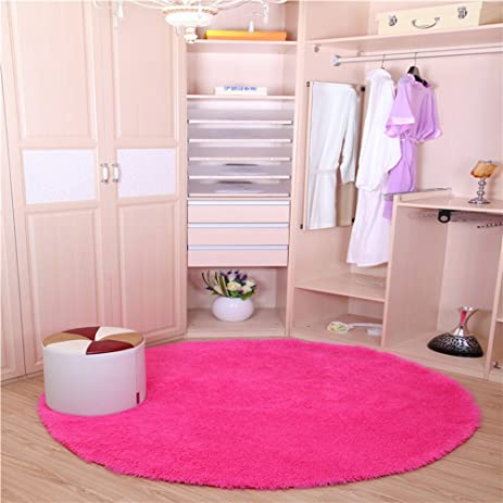 Amazon.com: TMJJ Round Shaggy Living Room Bedroom Carpets Computer ...
