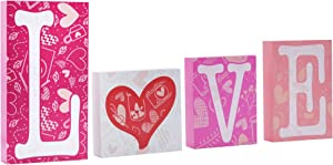 JOYIN Valentines Day LOVE Wooden Top Home Decoration Block Home Accent for Valentine's School Classroom Décor, Wedding Anniversary Engagement Proposal Party Favor