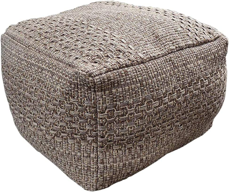 HIGOGOGO Pouf Cover, Unstuffed Ottoman Handmade Woven Foot Stool Soft Knitted Cotton Linen Footrest Square Floor Cushion Unfilled Pouf for Living Room Home Chair, Brown, 16.5