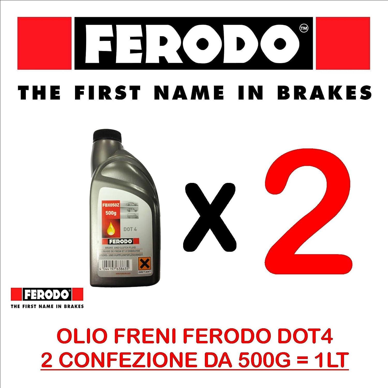 OLIO FRENI FRIZIONE FERODO CODICE FBX050Z DOT4 100% SINTETICO 1 LITRO (2 CONFEZIONI DA 500 GR)