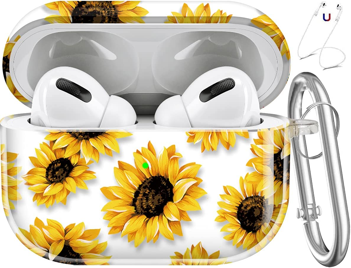 Maxjoy Compatible AirPods Pro Case Cover, Sunflower Clear Case Cute Protective Soft Shockproof Cover with Keychain for Women Girls Men Compatible with Apple AirPods Pro 3 Wireless Charging Case,Flower
