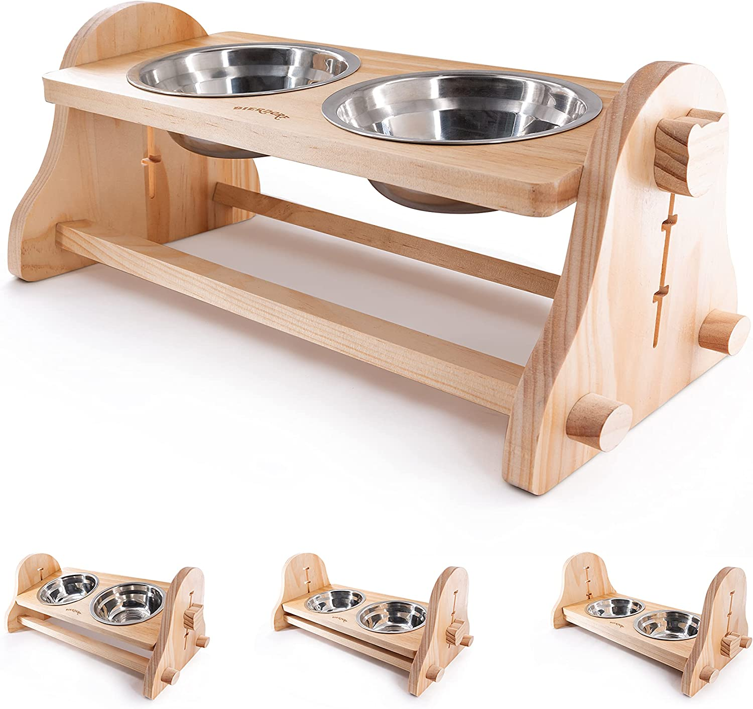BIERDORF Elevated Dog Bowls Raised Pet Bowls for Cats and Small Dogs, Adjustable Elevated Dog Cat Food and Water Bowls Stand Feeder with 2 Stainless Steel Bowls (3'' Tall-20 oz Bowl)