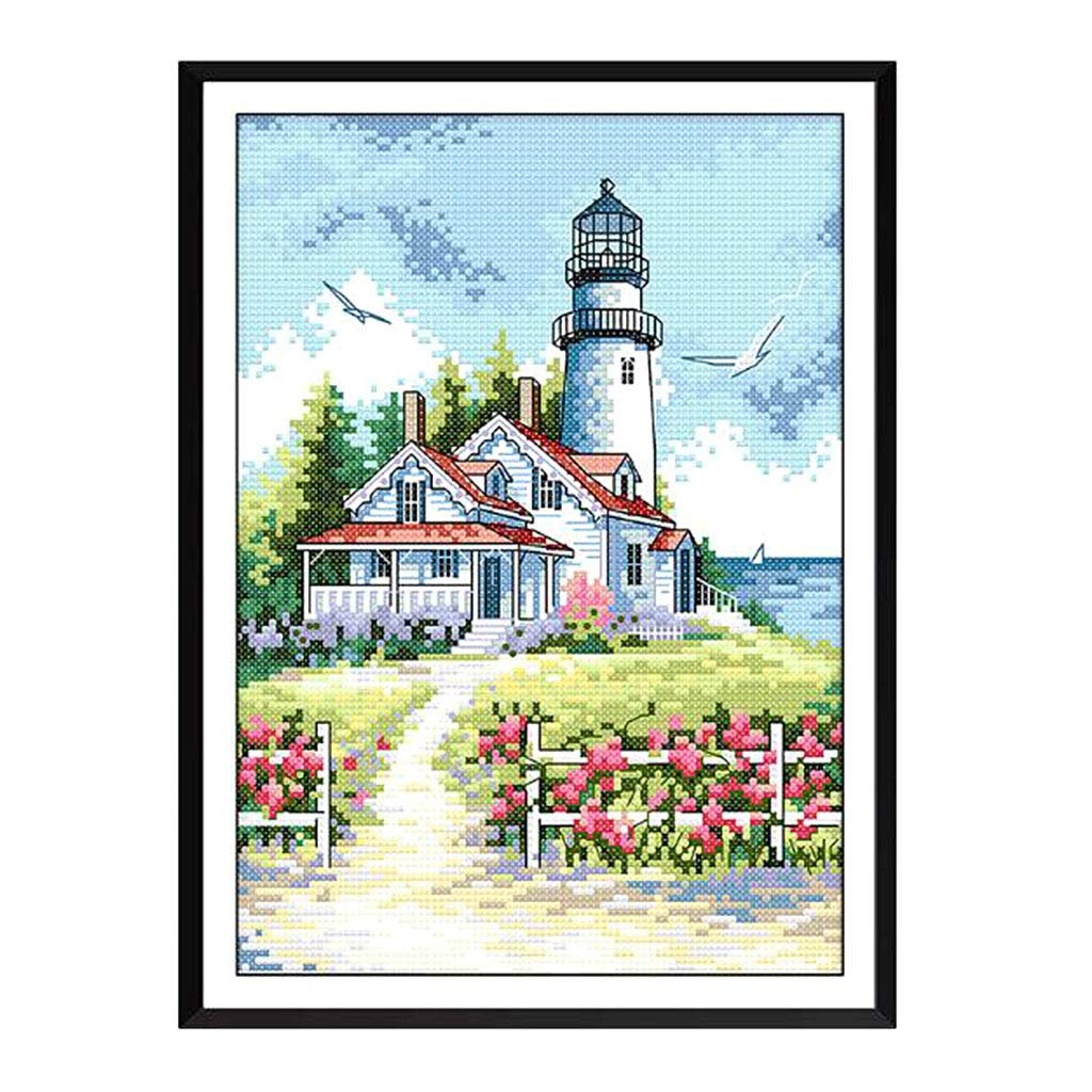 Prettyia Lighthouse Patterns Cross Stitch Stamped Kits with Pre-Printed Embroidery Cloth Needles 11CT Detailed Drawing etc