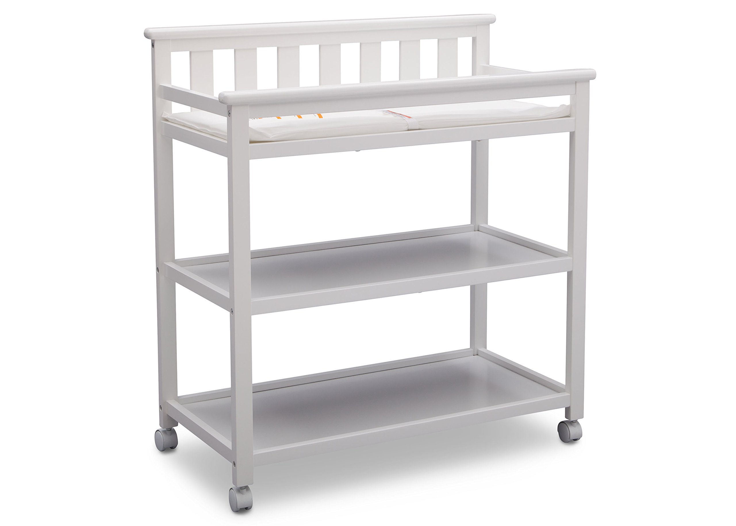 Delta Children Flat Top Changing Table with Casters, White by Delta Children