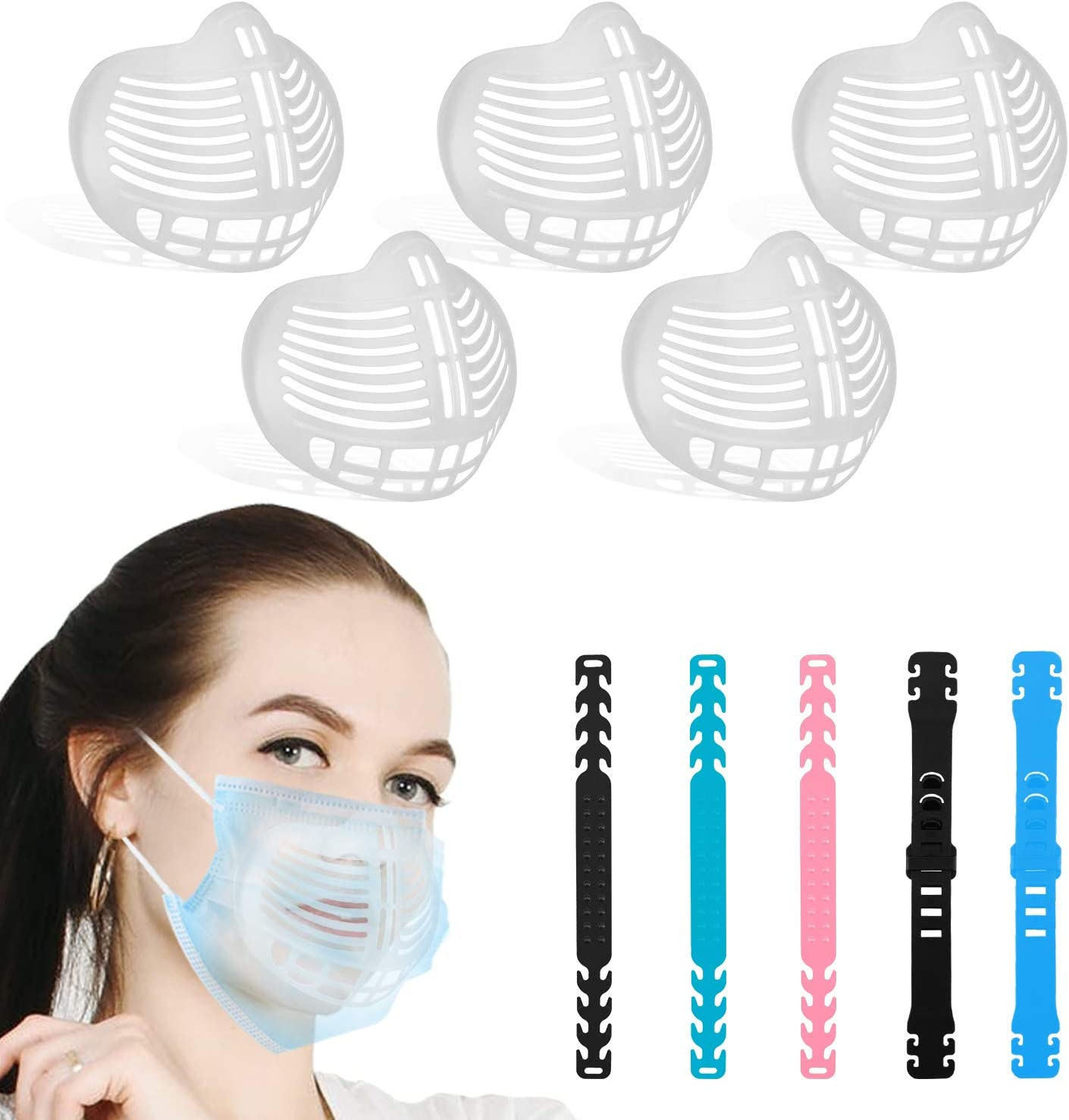 5+5PCS]3D Face Bracket Inner Support Frame for Adults, M-a-s-k spacer for  breathing, Cloth Cool Silicone Bracket, Suitable for Outdoor, Washable  Reusable Lipstick Protection - - Amazon.com