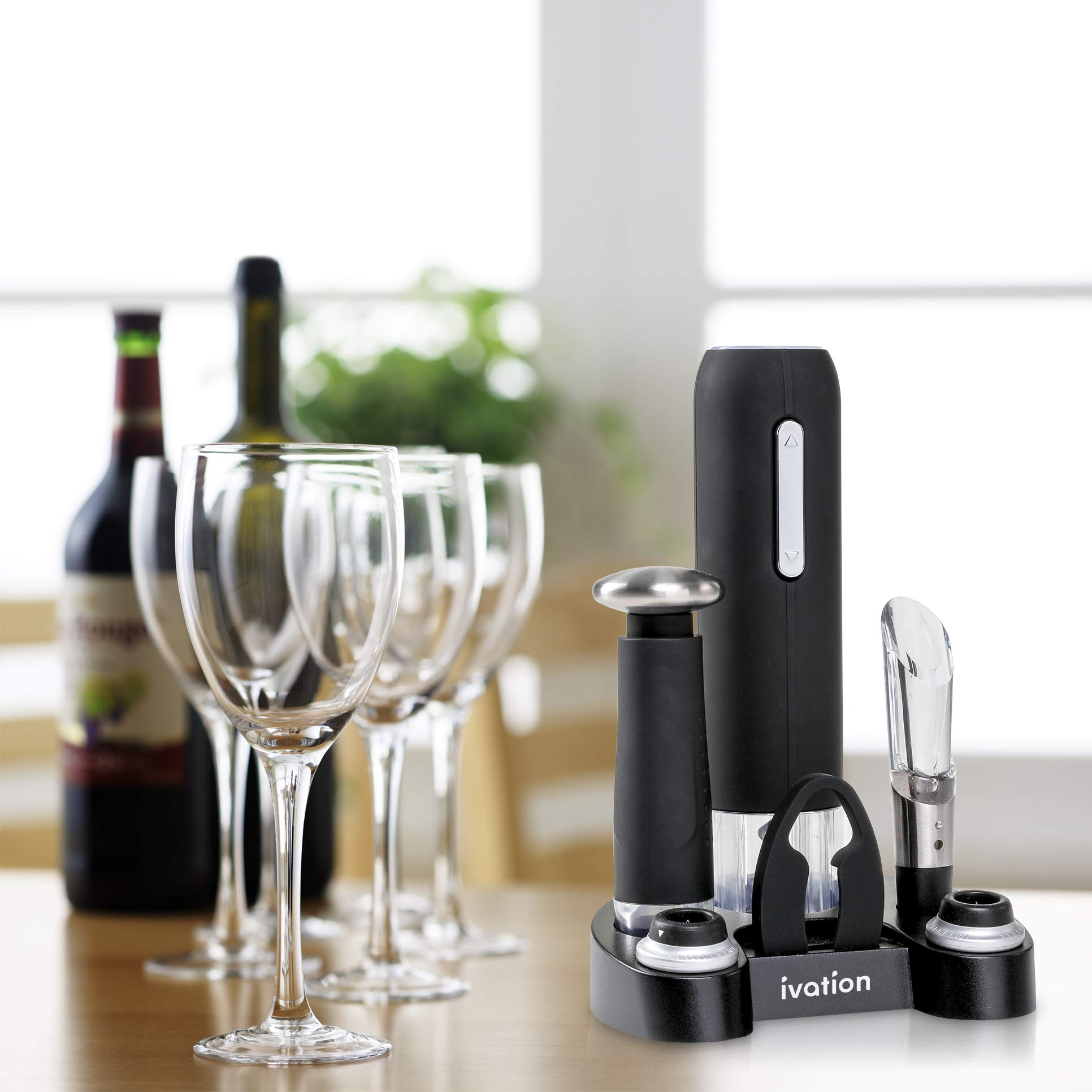 Ivation Wine Gift Set, Includes Electric Wine Bottle Opener, Wine Aerator, Vacuum Wine Preserver, 2 Bottle Stoppers, Foil Cutter & Charging Base by Ivation (Image #8)