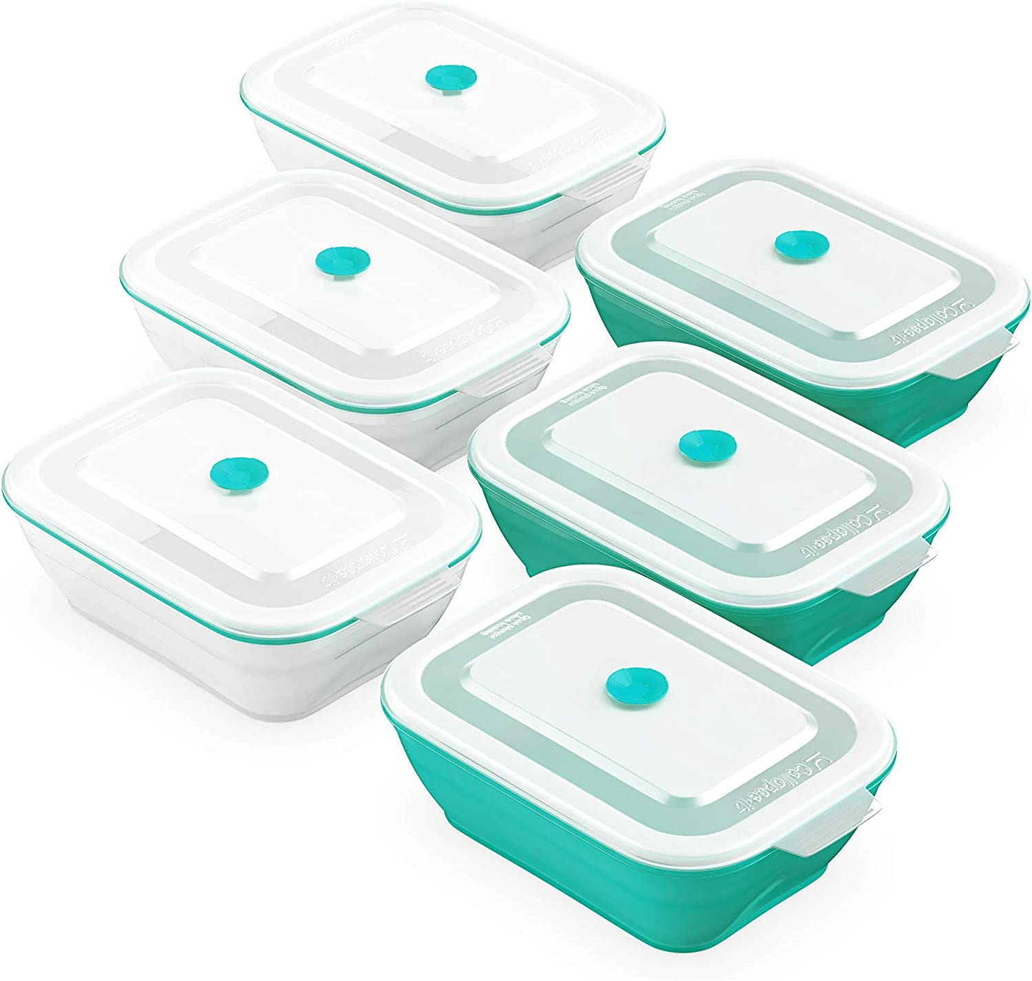 Collapse-it Silicone Food Storage Containers - BPA Free Airtight Silicone Lids Collapsible Lunch Box Containers - Oven, Microwave, Freezer Safe (Teal (6) 3-Cup Set)
