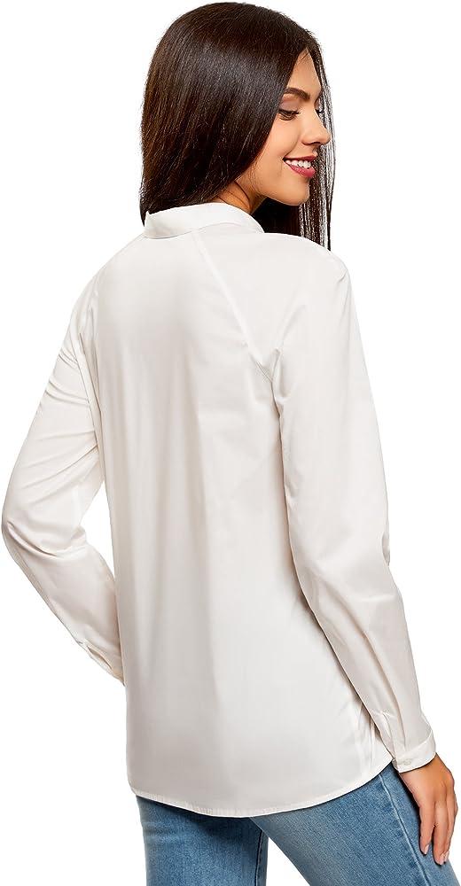 oodji Collection Mujer Camisa de Algodón de Manga Raglán, Blanco, ES 36 / XS: Amazon.es: Ropa y accesorios