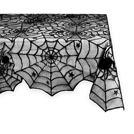 Amazon.com: Fyore Halloween Black Lace Tablecloth Spider Web Table Cover  For Party Festival Table Decorations (48X96 Inches): Home U0026 Kitchen