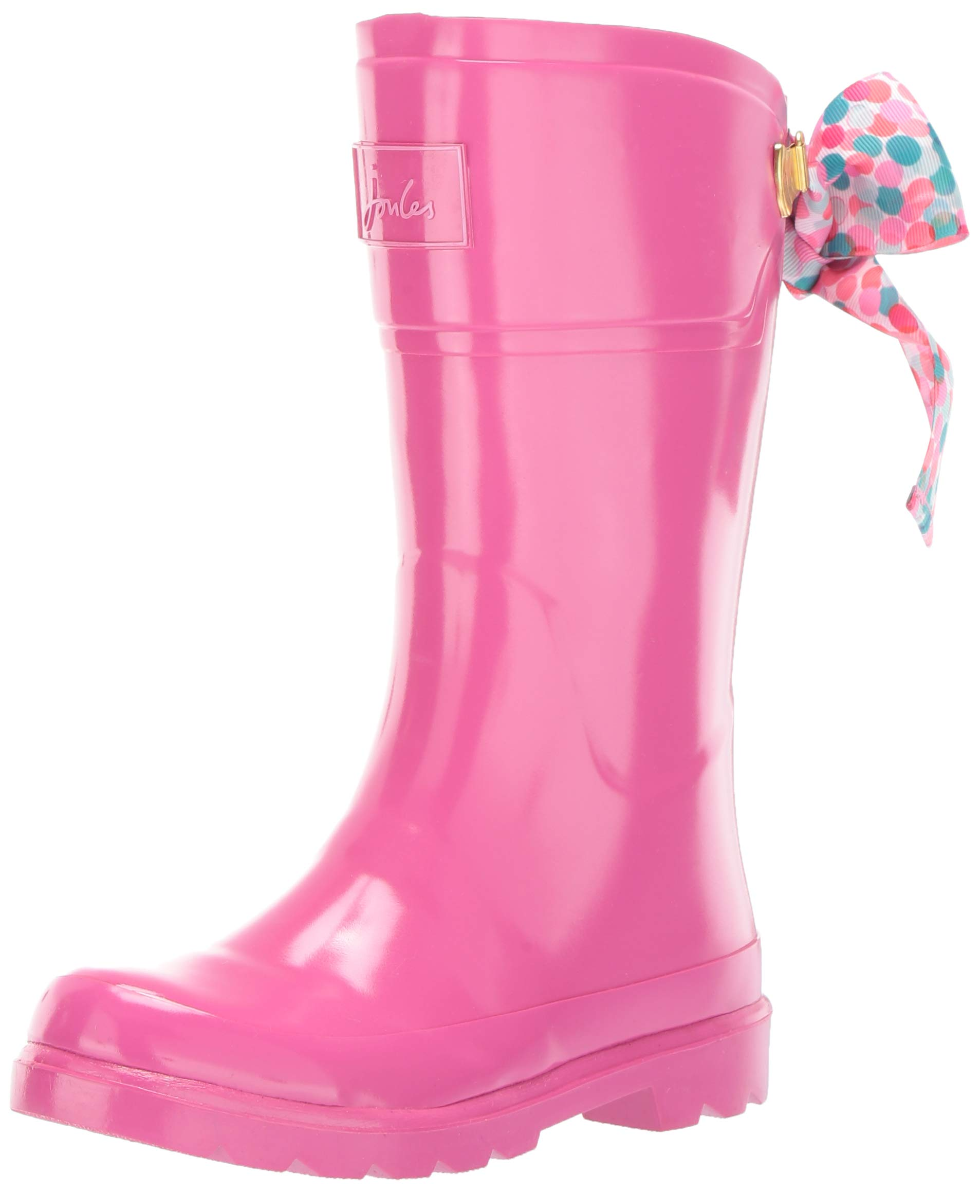 Joules Girls' JNR Bow Welly Rain Boot, True Pink, 10 M US Little Kid