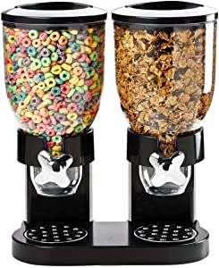 Multifunctional Cereal Dry Food Dispenser Storage Container Double Chamber Dual Control Household Kitchen Storage Bottles