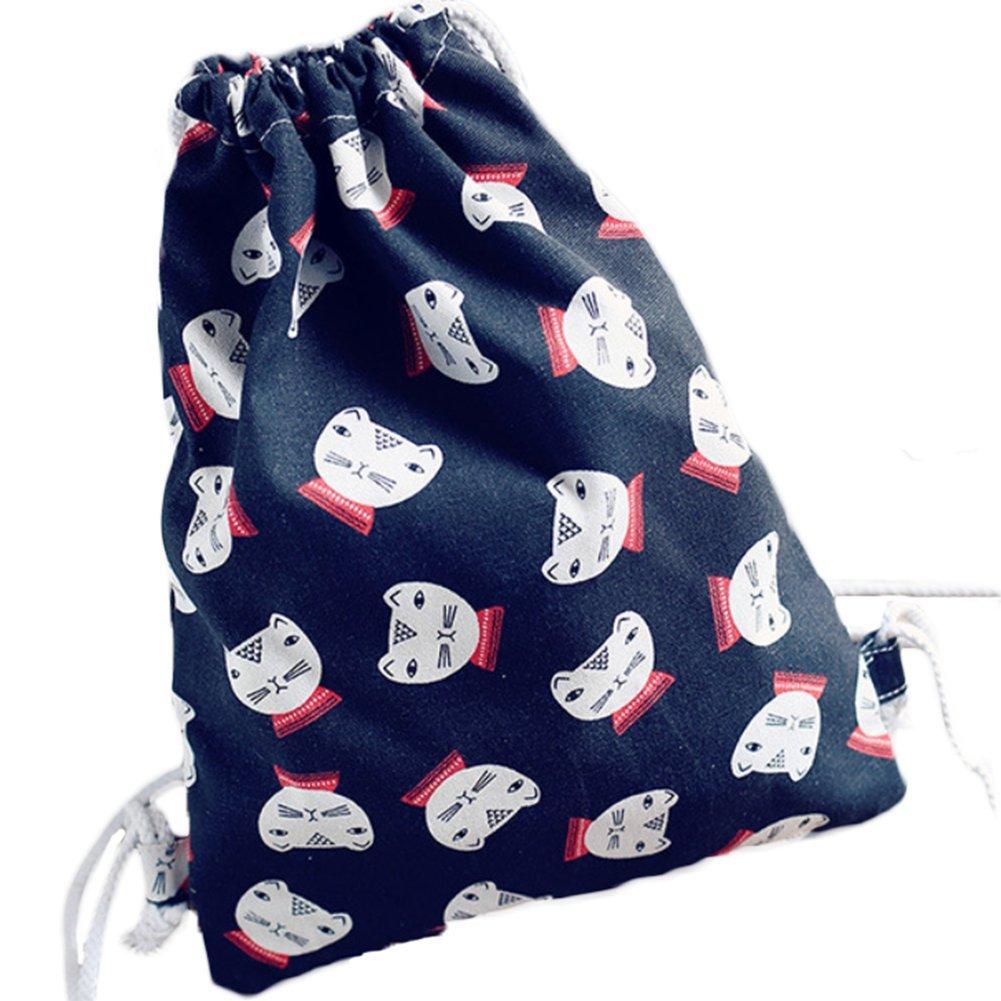 Scrox New Fashion Drawstring Cat Black Backpack School Swim Gym PE Rucksack Outdoor Sports Shoulder Bags Size 34 41cm