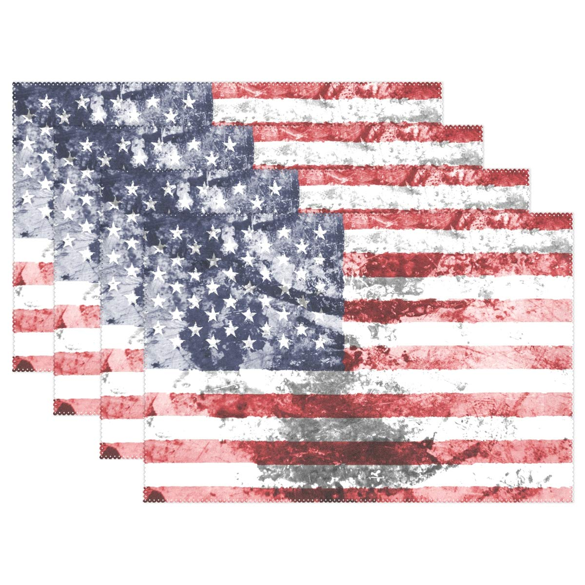 baihuishop America Flag Placemats Heat-Resistant Washable Table Mats 12 X 18 Inch Placemats for Family Kitchen Hotel Coffee Shop Dinning Restaurant Set of 4