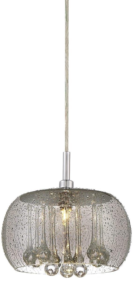 """Possini Euro Rainier 8 3/4"""" Wide Smoke Glass Mini Pendant - Possini Euro Design"""